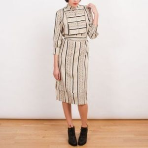 Suno Mid Length Patterned Dress with Belt